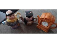 Set of 3 Tea Pots - Clock - Owl - Monk - Excellent Condition