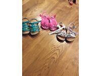 Three pairs of infant size 5 summer shoes