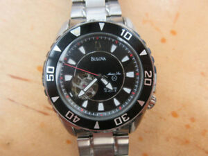 **MARINE STAR** Bulova Men's 98A105 Black Dial Automatic Watch