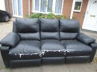 black leather 3 seater recliner sofa &***FREE TO COLLECT***