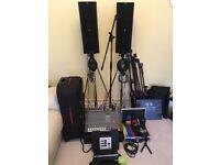 DJ Equipment setup incl Dynacord Powermate 600 Mixer, Bose Speakers & Controller