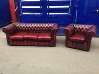🔥SUPERIOR IMMACULATE 🔥 DELUXE 2 piece suite chesterfield Oxblood genuine leather sofa & club chair