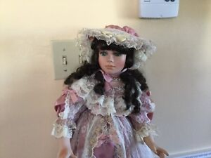 """Beautiful 24"""" Porcelain Doll stand and box included"""