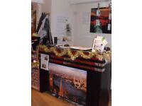 large black and crome reception desk