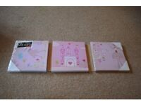 Set of 3 Pink Canvas Prints for Girl's Bedroom