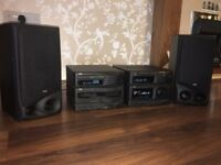 JVC CA-S50RBK CD / tape / radio stereo system with wall mountable speakers