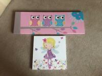 Girls wall canvases