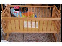 Baby wooden swinging cot