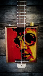 Cigar Box guitar 3 cordes Elvis print