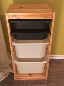 Ikea solid pine storage with plastic storage containers