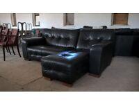 Black L shape corner sofa couch in VGC Delivery Poss