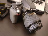 Nikon D3300 + DX VR 18-55mm with SD and case