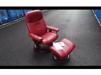 Ekornes Stressless Small Burgundy Consul Leather Recliner Armchair and Footstool