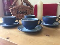 Denby cups and saucers. Blue Jetty