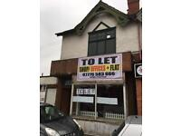 RETAIL SHOP OR OFFICES (INCLUDING 1 BED FLAT) TO LET ON BUSY MAIN ROAD LOCATION IN YARDLEY