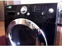 REDUCED! LG , BLACK + CHROME, 9kg / 6kg, 1400 WASHER DRYER + 3 Month Guarantee + FREE LOCAL DELIVERY