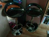 2x Gloss Black Breakfast Bar Stools Chairs