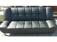 Sofa Bed Futon Black Leather in Excellent Condition Chrome Legs can deliver free no extra charge