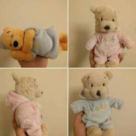 Small limited edition Disney Winnie the Pooh teddies. nursery decor, toys, gifts, collectibles.