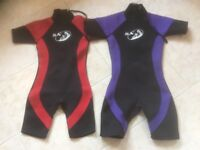 Shortie wetsuits age 8-9 and 10-11