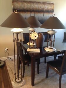 Table lamps, clock