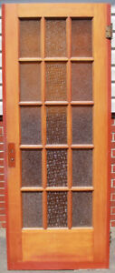 Antique Wooden 15 Window Pane French Doors with Orange Glass
