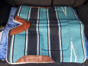 Teal Striped Saddle Pad