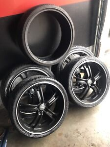 "^** 20"" OZ RACING MURDERED OUT BLACK WITH TIRES"