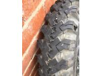 Five rice trailer wheels ( extra traction tyres )