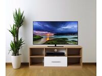 High Gloss White On Oak Modern TV Stand Cabinet Unit