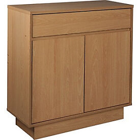 Cubes 2 Door 1 Drawer Small Sideboard - Oak Effect