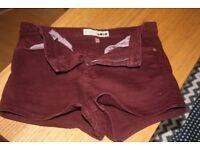 top shot burgandy denim shorts