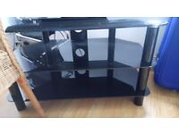 TV Cabinet - black glass and chrome