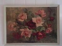 Vintage red and pink roses framed picture