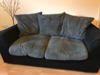Sofa 3 seater Black and Grey fabric covers & cushions. By Rainbow made in UK
