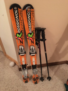 Kids Rossignol 100 Skis and Poles