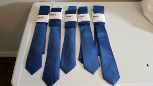 5 blue ties and pocket squares