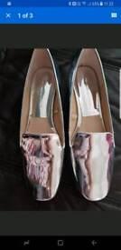 Zara silver metallic shoes size 6 never worn