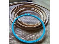 5 embroidery hoops, - 3different sizes, 4 wood and one blue.