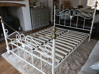 Ivory and Brass Double Bed