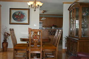 Solid Oak Dining Set and China Cabinet