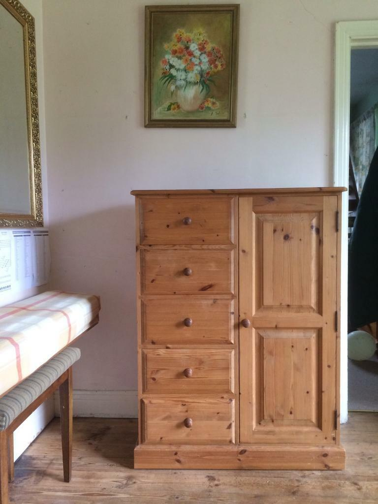 Solid pine small wardrobe 1 door 5 drawers chest tallboy Short wardrobe with drawers