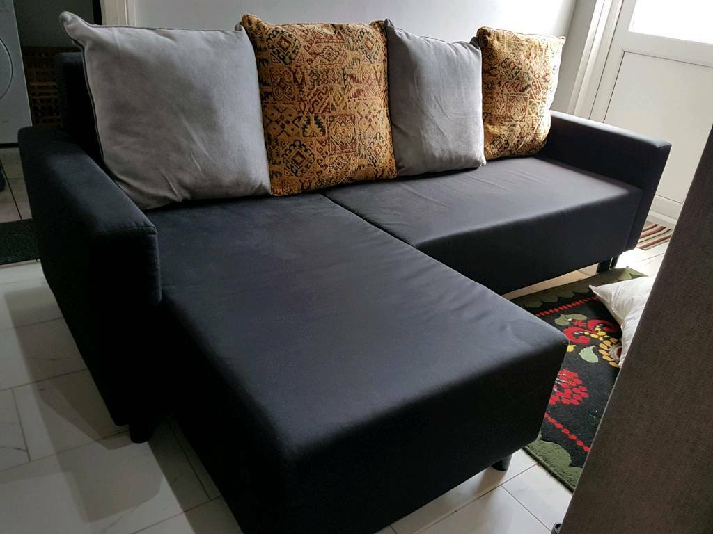 Corner Sofa bed. Only260Free Deliveryin Barking, LondonGumtree - Beautiful black corner Sofa Bed Comes from smoke and pet free home. Can come apart into pieces for easy transportation and to take through tight narrow spaces. The chaise lounge can be placed left or right easily. Nice and clean.Size of L shape 230cm...