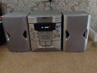 Sharp 3 cd disc and double cassette stereo system
