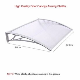 Door Canopy Awning Shelter Front Back Porch Outdoor Shade 80X120cm (Single White)