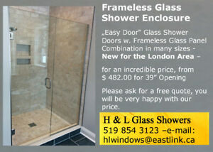 Frameless Glass Shower Enclosure - Large Selection from $ 482.00