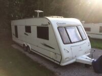 2008 Elddis crusader cyclone, 4 berth, fixed island bed, Twin axle with motor mover, double fridge.