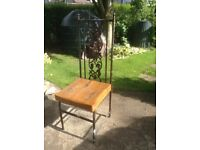 Dining room Chairs cast metal with solid wood seats