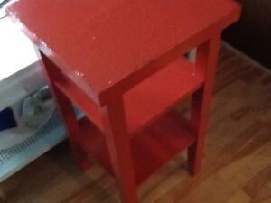 Red table height side table
