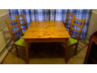 Dining table with extension, 4 chairs with pads & large sideboard.
